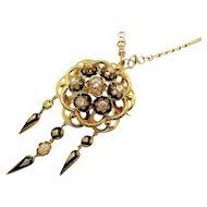 An ornate Victorian 1.50ct Diamond Enamel 18k Yellow Gold Fringed Pendant Brooch, French 1850s