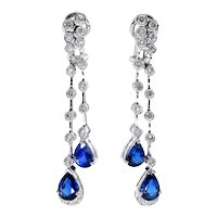 4.85ct Round DIAMOND and Pear Shaped Blue SAPPHIRE Drop Dangling 18k White Gold EARRINGS
