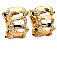 Authentic Estate PATEK PHILIPPE Twenty-4 Sapphire, Diamond 18K Gold Ear Clips Oval Hoop EARRINGS
