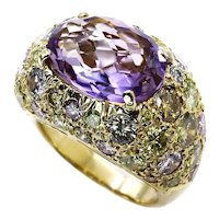 10.68ct Natural Fancy MULTICOLORED DIAMONDS & Amethyst Dome 18K Yellow Vintage Estate RING