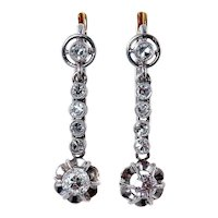 Art Deco 1920s..1.02ct OLD Mine cut Diamond Drop HANGING Platinum and 18K EARRINGS