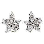 Estate 1.69ct Pear Shaped and Marquise Diamond ClusterFlower Platinum Stud Earrings