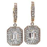 3.02ctw GIA Emerald Cut Diamond Dangling Hanging 14k Gold Earrings