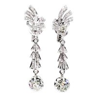 Art Deco GIA 3.25ct OLD European cut Diamond Drop Hanging 18k EARRINGS