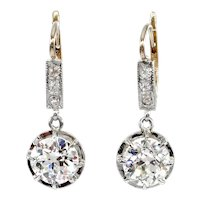 Victorian GIA 3.29ct Old European Diamond Dangling Drop Earrings