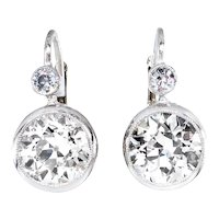Art Deco 4.28ct Old European cut Diamond Drop Hanging SOLITAIRE EARRINGS in Platinum