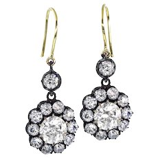 Authentic GIA 6.00ct Antique Victorian Diamond Cluster Dangling Earrings in 18k Gold Silver top, CIRCA 1840s