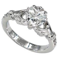 GIA 1.23ct Heart Diamond Irish Claddagh Engagement Wedding Platinum Vintage Ring