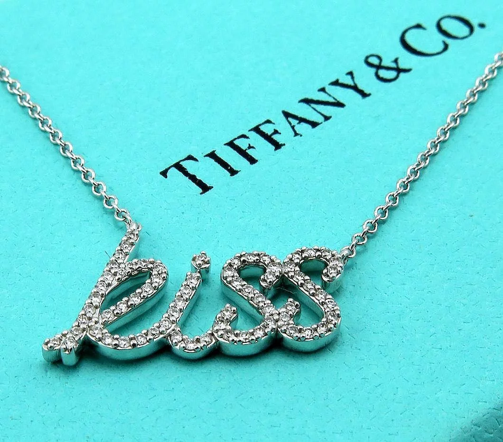 62454027c Authentic Retired TIFFANY & Co Paloma Picasso Diamond Kiss Necklace Pendant  - Graffiti Collection