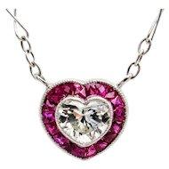 Art Deco 1.0ctw Vintage Heart Shaped DIAMOND and RUBY Drop PLATINUM Pendant Necklace