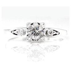 Antique Vintage Art Deco 0.37ctw ROUND Cut Diamond Engagement Promise Ring