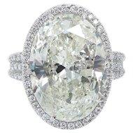 HUGE Estate Vintage 10.03ct Classic Oval Cut Diamond Halo EGL USA Engagement Platinum Ring