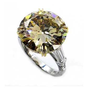 "Huge GIA 10.46ctw Natural Fancy Brown Yellow ""Cognac"" ROUND Cut Diamond Three Stone Platinum Ring"
