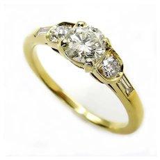 Vintage 1.08ct Five Stone Diamond Wedding ENGAGEMENT 18k Yellow Gold Ring