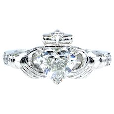 GIA 1.12ct Heart Diamond Irish Claddagh Engagement Wedding Platinum Estate Vintage Ring