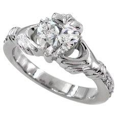 GIA 1.20ct I-SI1 Heart Diamond Irish Claddagh Engagement Wedding Platinum Estate Vintage Ring