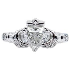GIA 1.26ct Heart Diamond Irish Claddagh Engagement Wedding Platinum Estate Vintage Ring