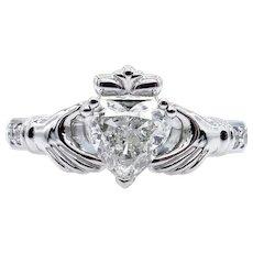 GIA 1.26ct Heart Diamond Irish Claddagh Engagement Wedding Platinum Estate Vintage Ring