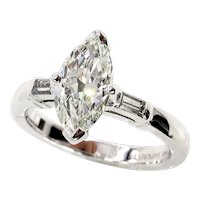 1930..Vintage GIA 1.31ct Classic Marquise Cut Diamond 3 Stone Engagement Ring