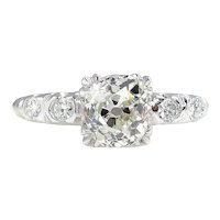 GIA Art Deco 1.43ctw Old Mine Cushion Solitaire Diamond Wedding ENGAGEMENT Platinum Ring