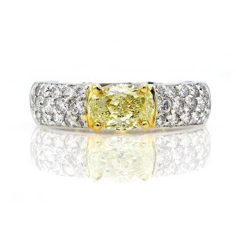 """GIA """"Canary"""" 1.62ct Natural Fancy Yellow OVAL Diamond Engagement Ring Pave Platinum Wedding Band"""
