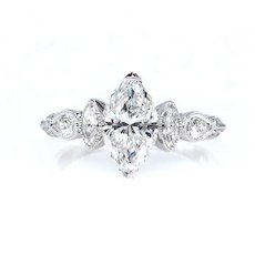 GIA 1.62ct Vintage MARQUISE Cut Diamond ENGAGEMENT Wedding Anniversary Ring 18K