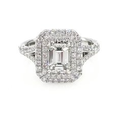 GIA 1.76ct Vintage EMERALD cut Diamond Solitaire Engagement Halo Platinum Ring