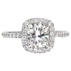 GIA F-VS1 2.0ctw Estate Vintage CUSHION Brilliant Cut Diamond Solitaire Engagement Wedding Platinum Halo Ring