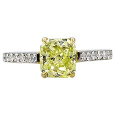 GIA 2.0ctw Estate Natural Fancy Yellow RADIANT Cut Diamond Solitaire Engagement Platinum Ring