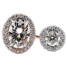 Supernova Moissanite 6x8mm Oval Cut Center 1.10ct Natural Diamond Halo 14k White Rose Gold Ring