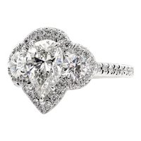 GIA 2.01ct Estate Vintage PEAR Shaped Diamond H-VS2 Three Stone ENGAGEMENT 14k White Ring