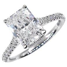Estate GIA 2.01ctw I VS1 RADIANT Cut Diamond Solitaire Platinum Engagement Wedding Ring