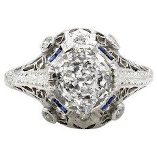 Edwardian Flawless GIA 2.02ct Antique Old European Diamond & Sapphire Engagement Platinum Ring