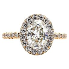 Colorless GIA Estate Vintage 2.02ct OVAL Diamond Solitaire Engagement Halo Rose Gold Ring