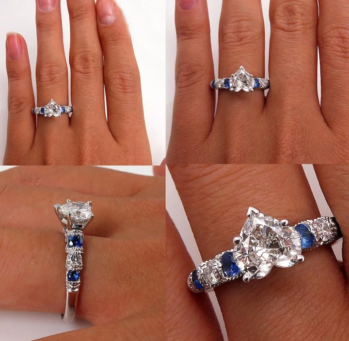 GIA 2.14ct HEART Shaped Diamond And Sapphire Estate Vintage Engagement Ring  And Band Bridal Wedding