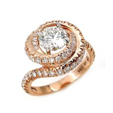 GIA 2.20ct Estate Vintage ROUND Brilliant Cut Diamond Engagement Wedding 14k Rose Gold Ring