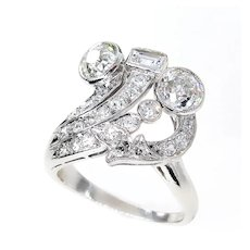 Art Deco 2.25ct OLD European Round Cut Diamond Cocktail Platinum Ring
