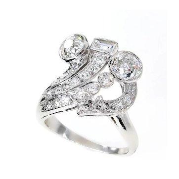 Art Deco 2.25ct OLD European Round Cut Diamond Cocktail Platinum Ring