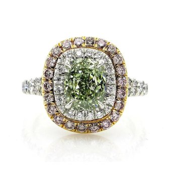 Rare GIA 2.55ctw Fancy INTENSE GREEN Cushion Cut Diamond Engagement Wedding Platinum Ring