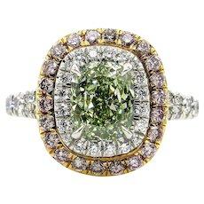 Rare GIA 2.55ctw Fancy INTENSE GREEN Cushion Cut Diamond Engagement Wedding Platinum Ring