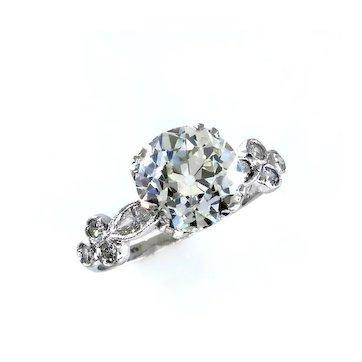 GIA 2.30ct Old European Cut Diamond Engagement Platinum Antique Edwardian RING