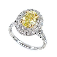 """GIA """"Canary"""" 2.33ct Natural Fancy YELLOW VVS1 Oval Diamond Wedding Platinum Halo Ring"""