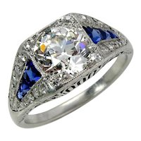 GIA Edwardian 2.37ctw Antique Diamond and Calibre Sapphire Platinum Engagement Wedding Ring