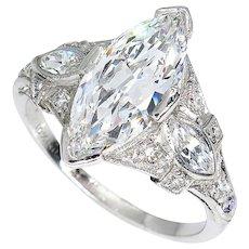 D-VS2 Art Deco Vintage GIA 2.45ct Old Marquise Cut Diamond Engagement PLATINUM Ring