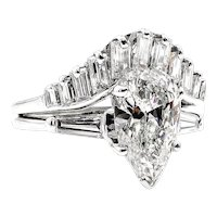 Mid-Century 2.44ct Estate Vintage PEAR Shaped Diamond Engagement 14k WG Ring , Wedding Set