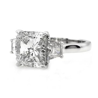 GIA 2.51ct Vintage CUSHION Cut Diamond 3 Stone ENGAGEMENT Wedding Platinum Ring