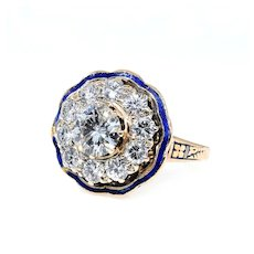 "GIA ""Revived Victorian"" 2.52ct Diamond Engagement Enamel Flower Cluster Cocktail 14k Vintage Ring"