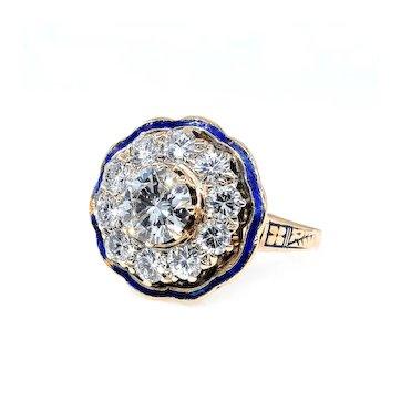 "GIA ""Revived Victorian"" 2.52ct Diamond Engagement Enamel Flower Cluster Cocktail 14k Vintage Ring"