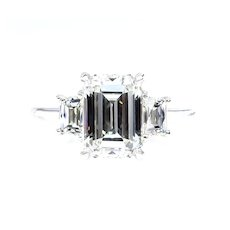 GIA 2.58ct EMERALD Cut & French Cut Trapezoids 3 Stone DIAMOND Engagement Platinum Ring