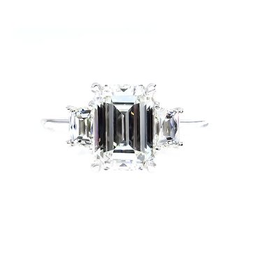 GIA 2.58ct EMERALD Cut & French Cut Trapezoids 3 Stone DIAMOND Engagement Platinum Ring
